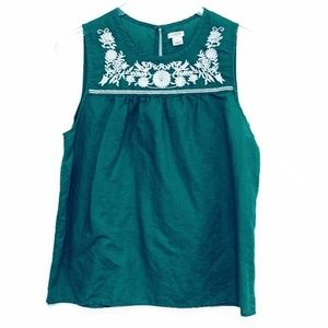 J Crew Womens 12 Large Boho Embroidered Linen Top